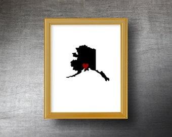 Alaska Art 8x10 - UNFRAMED Hand Cut Silhouette - Alaska Print - Alaska Wedding Gift - Personalized Name or Text Optional