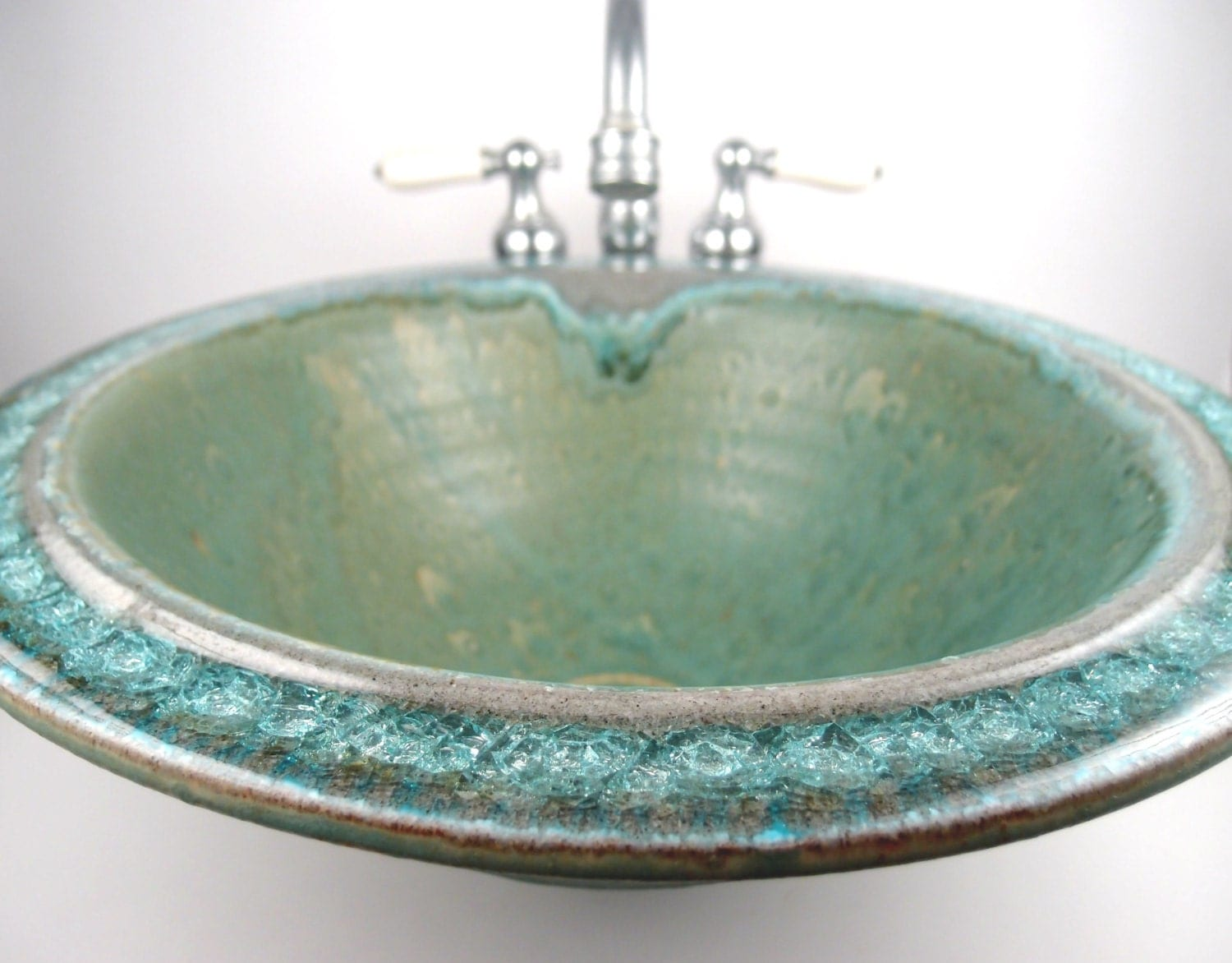 Made to order sea green ceramic vessel sink with fused glass - Green glass vessel bathroom sinks ...