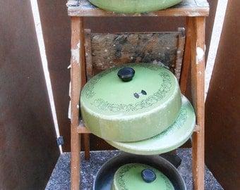 Avocado Green Aluminum Pots and Pans 1970's