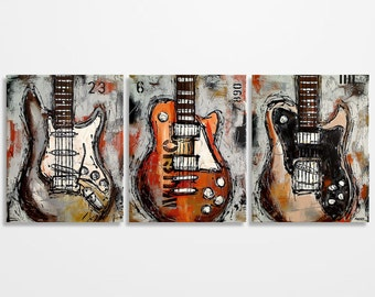 Guitar art, Music art, Guitar painting, Gift for musician, Music painting, Electric guitar painting on canvas by Magier MADE TO ORDER
