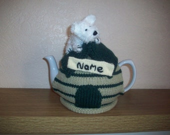 Knitted Tea cosy cosie West Highland Terrier, Westie, Kennel Personalised with Name, Shabby Chic