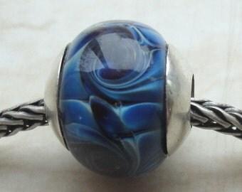 Blue Silver Glass - OOAK Big Hole European Style Handmade Lampwork Focal Bead SRA