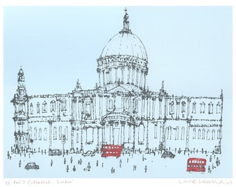 ST PAULS CATHEDRAL London Art Print, Acrylic Painting Screenprint, Clare Caulfield London City Wall Art Architecture England, Red Bus London