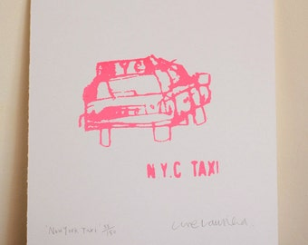 PINK NEW YORK Taxi, Handmade Original Screen Print, Signed Limited Edition Hand Pulled Neon Pink Art, Nyc Sketchbook City Drawing, Graphic