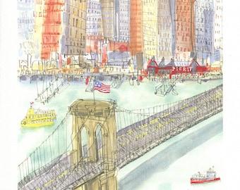 sale 10% BROOKLYN BRIDGE ART, New York City Print, Brooklyn Painting, Hudson River, Nyc Pier 17, New York Skyline Dumbo Clare Caulfield