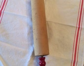 1950s Wood Rolling Pin with Red Wooden Handles - Retro Kitchen Look