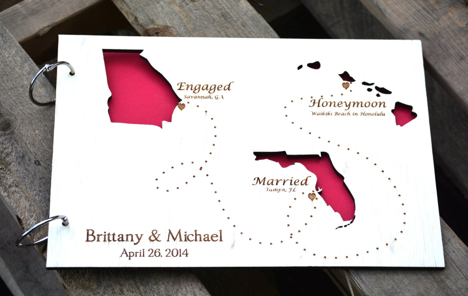 Wedding Guest Book Personalized Gift State Guest Book