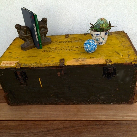Trunk Coffee Table Military Footlocker Antique Trunk Wood