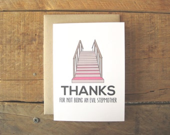 Stepmothers Day Card. Funny Stepmother Card. Mothers Day Card. Stepmom. Stepfather. Stepdad. Fathers Day.