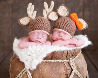 Twin Doe and Buck Hats. Twin Photo Prop. Deer Hat. Deer Hunter. Doe Hat. Orange Bow. Twin Pictures. Newborn Photo Props. Twin Hats