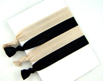 Hair Elastic Ribbons -- Natural Beige and Black