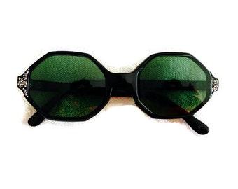 Vintage 50s-60s Black Hexagonal Rhinestone Detail Sunglasses