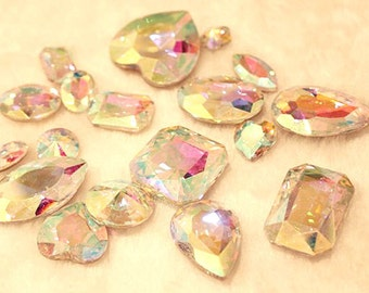 AB Clear -- 10 pieces assorted Cut Back Clear Crystal Glass Gems for Projects
