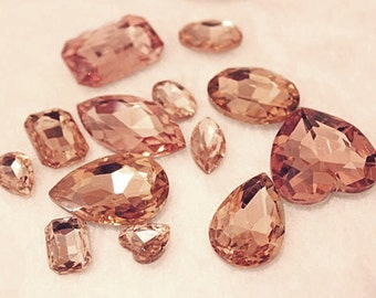 Champagne  -- 10 pieces assorted Cut Back Clear Crystal Glass Gems for Projects