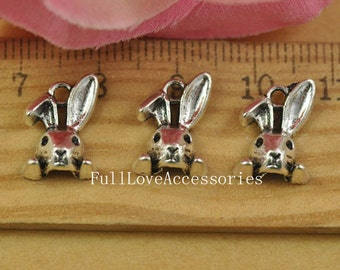 50pcs 10x13mm Cute Antique Silver Rabbit Charms Pendants Running Bunny Charms