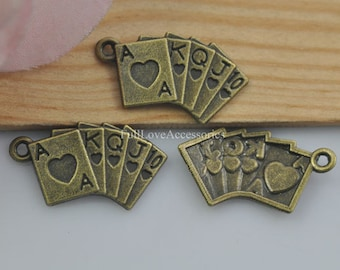 30pcs Poker Charms, 13x24mm Antique Brass Poker Charms Pendant, Playing Card Charms Pendant