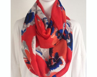 big red floral infinity scarf