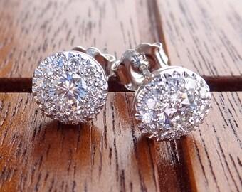 Diamonds with Diamond Halo Stud Earrings 11/2 carat look each 18k White Gold
