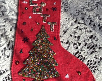 Christmas Stocking, Name is Scott, Felt, Sequins, 1950s