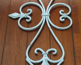 Large Fleur de lis Metal Wall Hanging / Scrolled Iron Wall Decor / Metal Wall Art / Aqua Blue or Pick Color / Shabby Cottage Chic Decor