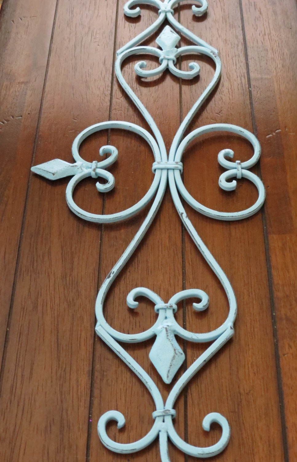 Large Fleur De Lis Metal Wall Hanging Scrolled Iron Wall