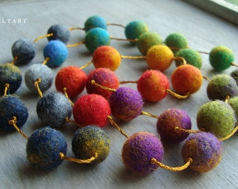 Colorful Happiness Statement Necklace, Felt Necklace, Wool Jewelry, Felted balls, Multicolored Necklace, Rainbow Necklace, Textile Jewelry