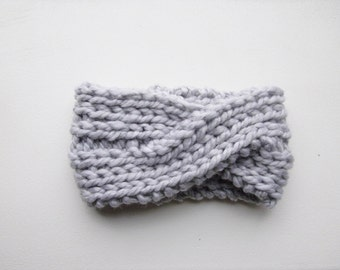 Knitted Headband Chunky Headband Ear Warmer Cabled Headband Head wrap in Stone Gray Hair Accessories Gift under 20 FREE Shipping to CANADA
