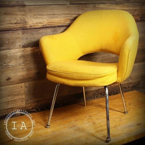 vintage florence knoll eero saarinen yellow executive arm chair mcm
