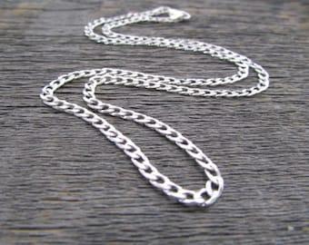 Sterling Silver Curb Chain, 20 Inch Chain, 5mm Chain, Curb Chain Necklace, Sterling Cuban Chain, 925 Chain, Italian Silver Chain