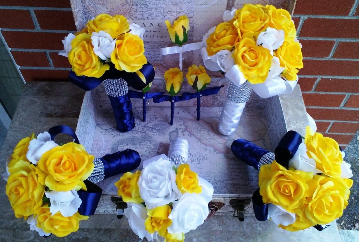 Yellow Rose Bouquet 17 Piece Wedding Package White