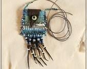 Woven Medicine Bag Leather Flap Apache Tear Miniature