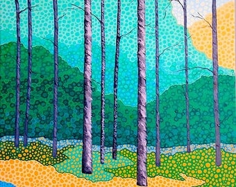"Landscape Painting Original Painting Wall Art Green Blue Yellow Canvas Art 16"" x 20"""