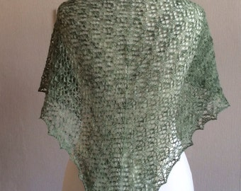 Hand Knitted Lace Shawl In Alpaca