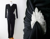 Vintage Jumpsuit - Wrap Style, Beaded Broach Detail, Cascading Ruffle, Draping, One Piece