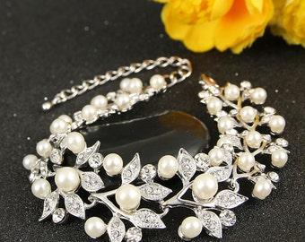 "Bridal Bracelet Wedding Bracelet ""Silver"" Ivory Pearls Wedding Bracelet Bridal Jewelry Wedding Jewelry Style-140"