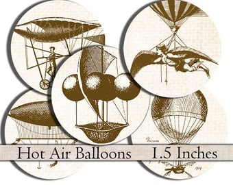 1.5 inch circles digital collage sheet vintage Hot Air Balloons printable digital download round steampunk images for scrapbooks crafts