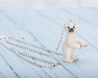 Polar Bear  Necklace -  Pendant Necklace - China Animal Necklace - Polar Bear -  Jewelry - Fantasy Jewellery - Miniature China Animal Bear