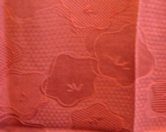 SF1169 Vintage Japanese Textured Floral on Rust Silk Kimono Fabric