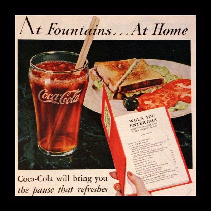 Coca Cola Kitchen Curtains: 1932 Coca Cola Ad Wall Art Kitchen Decor Book Coupon