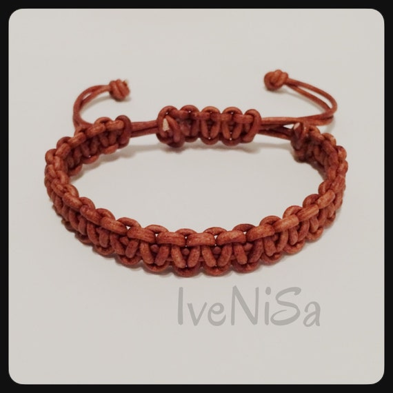 mens macrame bracelet brown s leather bracelet macrame hadmade by ivenisa 8025