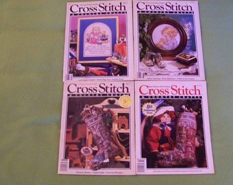 Cross Stitch & Country Crafts Magazines - Lot Of 4 - F