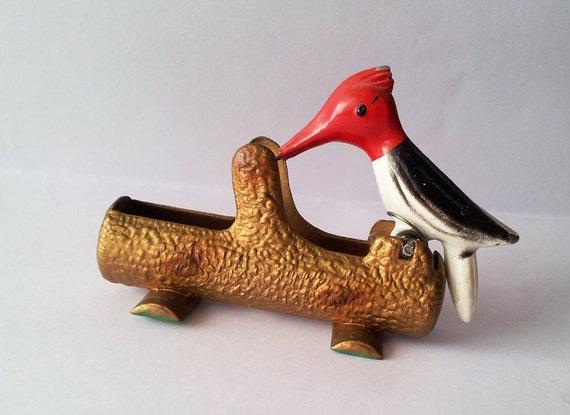 Vintage Woodpecker Toothpick Holder Cast Iron By Oldendayjoy