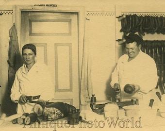 People sausage & bread food sellers antique photo