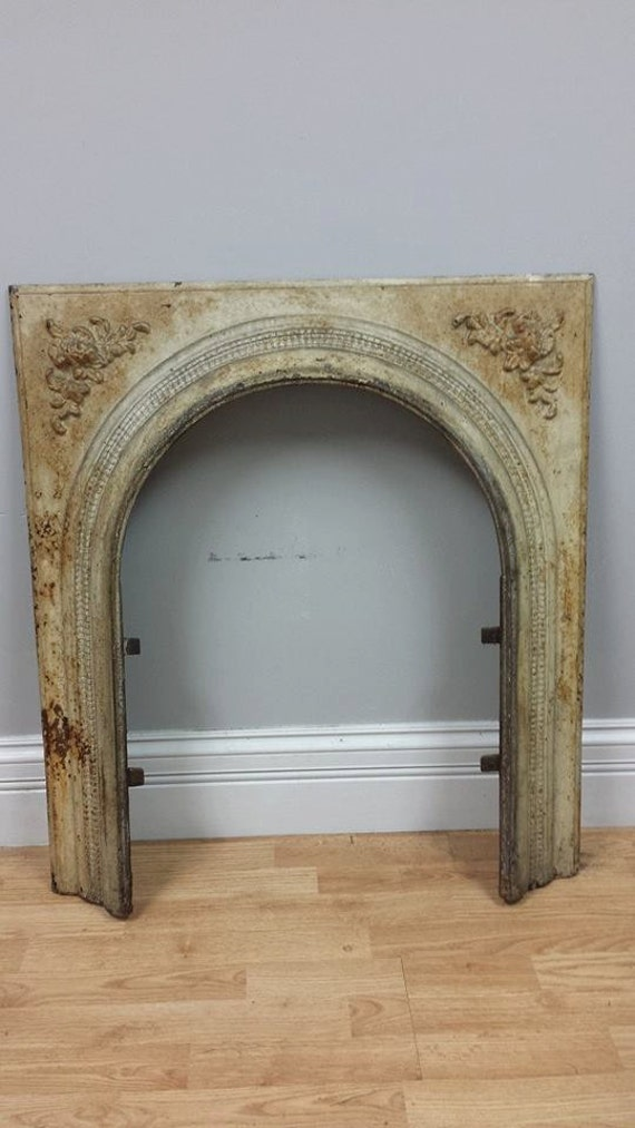 Vintage Cast Iron Fireplace Surround With By