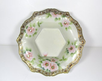 Antique Noritake Nippon China Bowl with Hand Painted Flowers