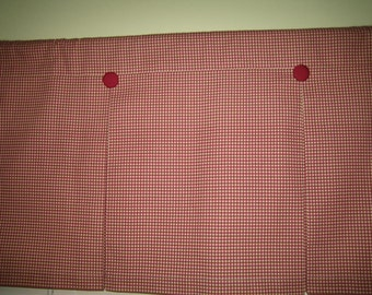 """Gingham/Check Curtain Valance in Cranberry Red and Cream 100% Cotton fabric 39"""" x 17-1/4"""" -  Handmade New."""
