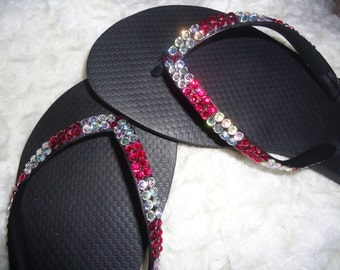 Crystal Flip Flops With Red And AB Crystals