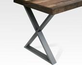 Table Legs Steel - X - Natural Steel Color (Pair)