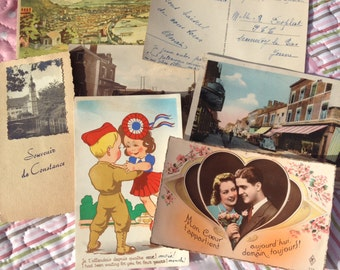 Shoe box full of Vintage French love letters and postcards from 1930s and 1940s