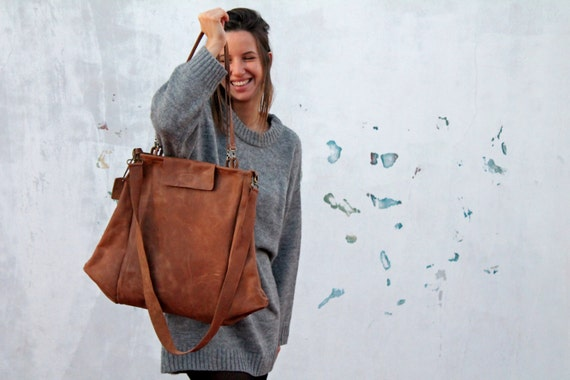 Leather bag/oversize/brown color/for women/tote/handmade